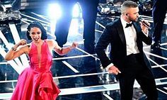 Diana Matos, portuguesa, a dançar no palco dos óscares,/2017 com Justin Timberlake que canta Can't stop the feeling..