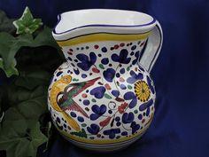 DERUTA ITALY Italian Pottery ARABESCO BIRD PITCHER 1.2 Liter