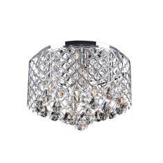 Add sparkle to any room of your home with this dazzling crystal flush-mount chandelier. This four-light fixture has a stunning chrome finish that beautifully accents the crystals, bathing your home in a warm glow that everyone will admire.
