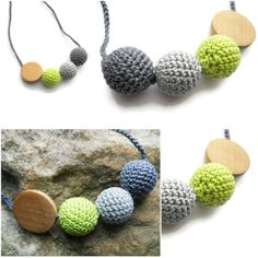 Teething nursery crochet wood bead necklace (grey and green) Nursing Necklace, Teething Necklace, Crochet Necklace, Beaded Necklace, Green And Grey, Color Inspiration, Nursery, Beads, Colors
