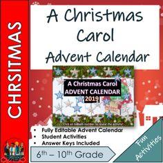 A Christmas Carol Advent Calendar – School Calendar İdeas. Christmas Carol, Christmas Themes, Calendar Themes, Calendar Notebook, Challenge Games, Advent Calenders, School Calendar, Time Activities, High School Students