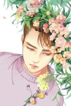 "Fan art of Do Kyung-soo (도경수) also known mononymously as D.O (디오) of EXO (엑소) from their ""Ko Ko Bop"" comeback. Kpop Exo, Exo Bts, Kyungsoo, Kaisoo, Chanyeol, Manga K, Exo Music, L Wallpaper, Exo Anime"