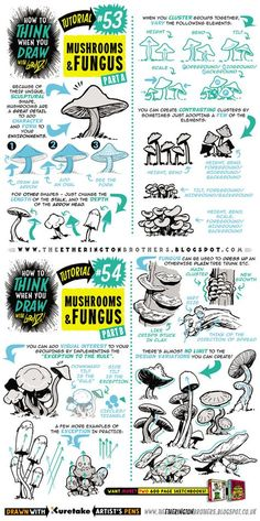 How to draw MUSHROOMS and FUNGUS tutorial by STUDIOBLINKTWICE.deviantart.com on @DeviantArt