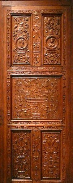 A carved wooden door at the Met