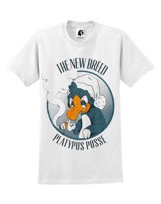 Triple Colour Screenprint on 100% Cotton T-shirt. Original illustration by Sarah Esau. Printed by hand in Nottingham, UK. #platypus #streetwear #unisex #clothing #graphic #character #design #halftone #cartoon
