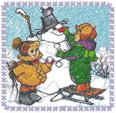 Advanced Embroidery Designs - Making a Snowman.
