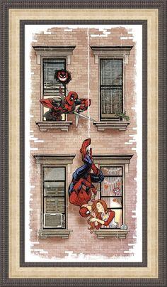Spiderman Rudely Interrupted by Deadpool (Ryan Reynolds is Wade Wilson) Anti-Hero (Peter Parker) SuperHero FAN ART PRINT - Best of Wallpapers for Andriod and ios