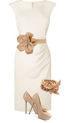 white and beige - classy outfit Breath taking!! I need a tan belt to match my shoes