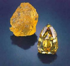 This is a digital photo of a 890 carat  Fancy Yellow Diamond in the rough and after it was cut to a 407.48 carat faceted SPECTACULAR diamond!