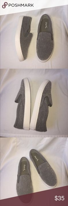 "Gray Fuzzy Loafers Gray Loafer style shoes, super cute, faux ""fur"". Fun and funky! Qupid Shoes Flats & Loafers"