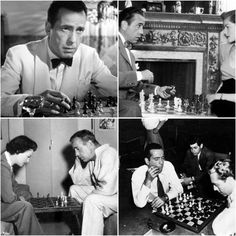 Humphrey Bogart was a master-level chess player. Humphrey Bogart, Famous Movies, Old Movies, Bogie And Bacall, Film Institute, Lauren Bacall, Classic Films, Old Hollywood, Movie Stars