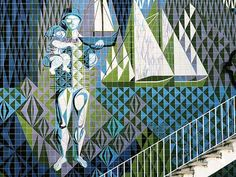 RIP - portuguese artist Maria Keil Painter, illustrator, creator of tile panels for the decoration of 19 metro stations in Lisbon and many other places. Sea Activities, Portuguese Tiles, Monochrom, Modern Graphic Design, Tile Art, Pictures To Draw, Art World, Ceramic Art, Street Art