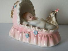 Vintage Josef Originals baby in bassinet figurine...precious!
