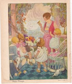 Ruth Mary Hallock illustration, a print from the 1930's, this is a good source for vintage illustrations and paper ephemera