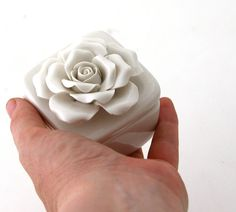 engagement ring box with rose, white stoneware wedding ring holder, proposal, trinket holder, jewelry box on Etsy, $16.00