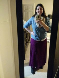 Jan. 15: Snapped right before kicking off my boots for the night, hence the terrible lighting. This maxi is the slinky material, and apparently doesn't show baby drool stains collected all day today! LLR maxi skirt, Old Navy chambray shirt, Frye boots, scarf from Urban Outfitters.