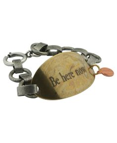 Brass bracelet with inspirational charm. Inspirational jewelry available at BuddhaGroove.com.