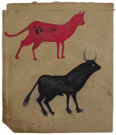 Red Cat, Black Bull, ca. 1939-42, Bill Traylor