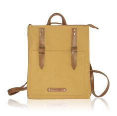 Popular Backpacks, Unique Backpacks, Frill Dress, How To Make Handbags, Handmade Bags, Mustard Yellow, Cross Body Handbags, Vegan Leather, Cotton Canvas