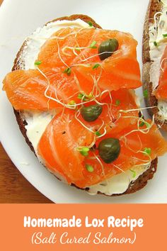 own lox (smoked salmon) with this easy lox recipe. You will never go back to store-bought lox! Homemade lox is so much fresher, tastier, and healthier than store-bought lox. Serve lox for breakfast or brunch on a toasted bagel with cream cheese. Gravlax Recipe, Salmon Lox, Seafood Recipes, Cooking Recipes, Kosher Recipes, Salmon Breakfast, Eat Breakfast, Lox And Bagels, Smoked Salmon Recipes