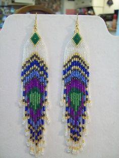 Native American Beaded Peacock Eye Earrings by BeadedCreationsetc