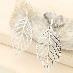 1 Pair Womens Solid 925 Sterling Silver Hollow Leaf Drop Dangle Hook Earrings