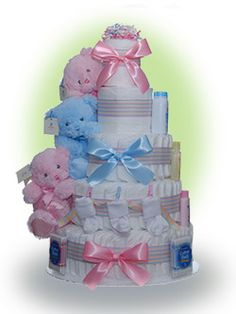 Triplets are a blessing - and bless the new parents who need sleep and extra hands to assist rocking new babies. Our cake for triplets provides each of the babies with Gund's first teddy and lots of diapers for the triple duty for mommy and daddy. Only $160.00