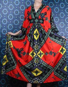 1960's Caftan Dress in my Etsy shop #vintageclothing #fashion https://www.etsy.com/ca/listing/551212314/60s-caftan-gypsy-handkerchief-scarf