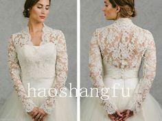 Respoke-V-neck-Bolero-Long-Sleeve-Lace-Applique-Sheer-Lace-Jackets-Bridal-Wraps