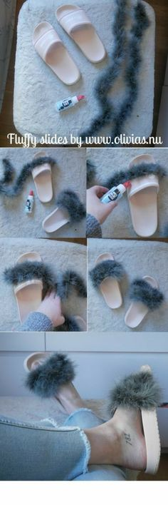 DIY – fluffy slides fenty puma Diy Slides, Fluffy Slides, Shoe Makeover, Diy Clothes And Shoes, Shoe Refashion, Diy Kleidung, Do It Yourself Fashion, Clothing Hacks, Shoe Art