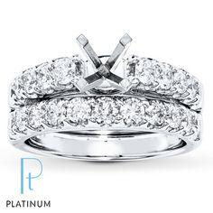 Diamond Bridal Setting 1 1/2 ct tw Round-cut Platinum