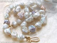 AAA Superb White Keshi with Dots of Colour Freshwater Pearl Necklace
