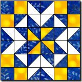 Another Nine Patch Star - looks complicated until you concentrate on the grid of squares and triangles. Directions make one 12 inch block