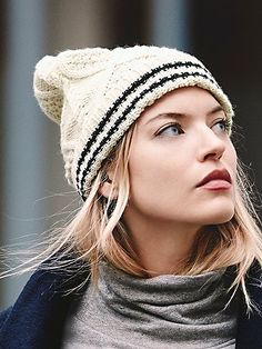 Sporty Stripe Double Beanie | Cable knit beanie featuring a sporty double stripe detail on the cuff.  Perfect for fall.
