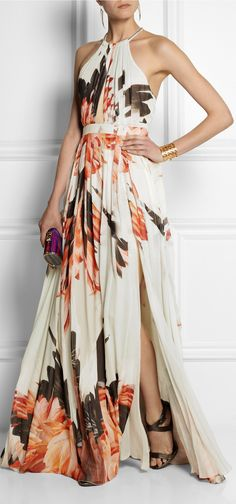 Roberto Cavalli - floral printed chiffon gown with long slit.