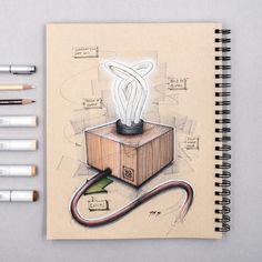 to my toned paper phase. This lamp was designed by the agency where I had my first internship! You pull the cord to turn it on, referencing an interaction from vintage lamps. The bulb is from by the way. Interior Design Sketches, Industrial Design Sketch, Sketch Design, Lamp Design, Lighting Design, Design Art, Toned Paper, Arte Horror, Sketch Inspiration