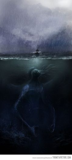 Sea monster illustration. Just what exactly lurks below the ocean's surface?