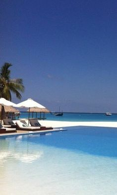 A pool with a view at Velassaru, in the Maldives