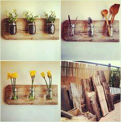 Wooden boards and hard Mason Jar Kitchen, Mason Jars, Kitchen Utensils, Sweet Home, Ball Jars, Flower Vases, Boho Decor, Diy Projects, Project Ideas