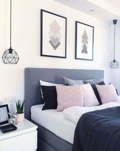 Blue Bedroom Ideas - We're putting it around-- blue might be the ultimate bedroo. Blue Bedroom Ideas – We're putting it around– blue might be the ultimate bedroom color. Stylish Bedroom, Cozy Bedroom, Home Decor Bedroom, Girls Bedroom, Bedroom Ideas, Design Bedroom, Bedroom Modern, Bedroom Bed, Bedroom Lamps