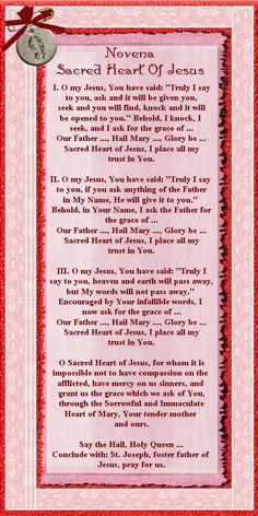 Found on Bing from prayers.bravesites.com Sacred Heart Novena, Sacred Heart Devotion, Novena Prayers, Catholic Prayers, Catholic Beliefs, Jesus Prayer, Faith Prayer, Birthday Prayer, Dynamic Catholic