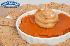 Pumpkin Puree with Mighty Maple Peanut Butter and Crackers #tasteamazing