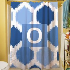 Manual Woodworkers & Weavers Batik Monogram Shower Curtain Color: Blue, Letter: O