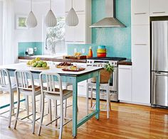 Try an unconvential island! Get more DIY ideas on a budget here: http://www.bhg.com/kitchen/remodeling/budget/budget-friendly-kitchen-ideas/?socsrc=bhgpin092214tryandunconventialisland&page=2