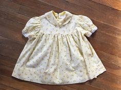 Vintage 70s Toddler Dress  1970s Floral Yellow Gingham Plaid Cotton Swing Dress - 2T