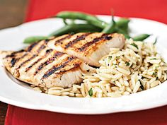 Pan-Grilled Snapper with Orzo Pasta Salad | These 12 recipes are designed to help you transition baby to the family meal. Each recipe is a family-friendly recipe, and next to each one you'll find directions on how to modify or adapt a small serving of that recipe for baby. Get excited because this is the beginning of simplified meal planning!
