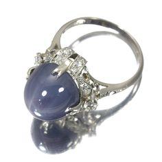 スターサファイア 13.32ct ( 12.3x10.5mm) ダイヤモンド0.38ct Pm刻印、幅16mm, 6.9g. ラウンドカットダイヤとシングルカットのダイヤ