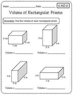 math worksheet : volume and surface area of rectangular prisms two worksheets 1  : Math Worksheets Volume