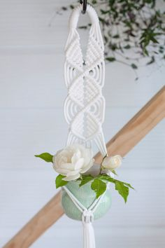 Triple Diamond Macrame Plant Hanger // White Nylon by KnottyBloom