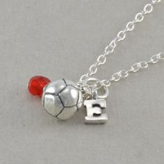 SOCCER Necklace, Sterling Silver, charm, birthday necklaces, personalized, initial, gifts, childs jewelry, teen, letter, birthstone, ERICA